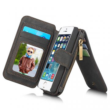CaseMe iPhone SE 2 Zipper Wallet Detachable Flip Case