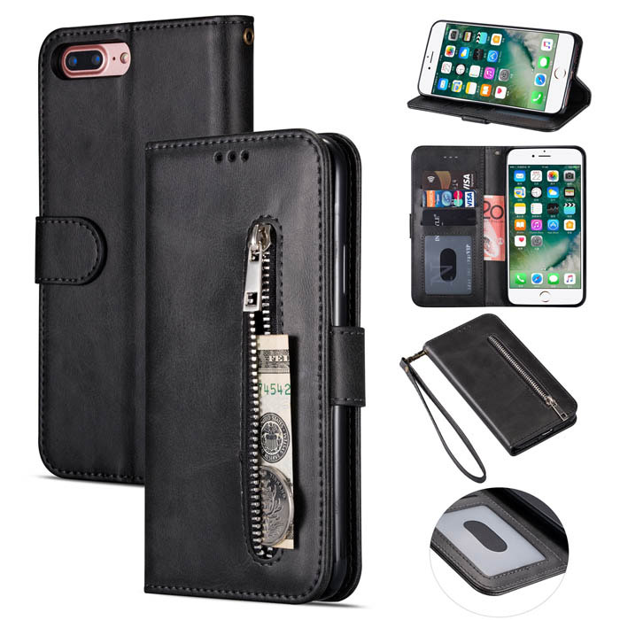newest 500db 982b6 iPhone 7 Plus/8 Plus Zipper Pocket Wallet Stand Case with Strap Black