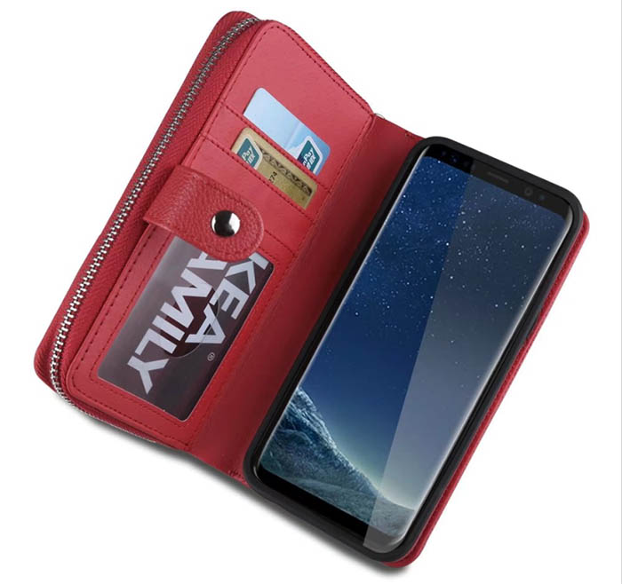 BRG Litchi Pattern Samsung Galaxy S8 Plus Zipper Wallet Magnetic Detachable Case