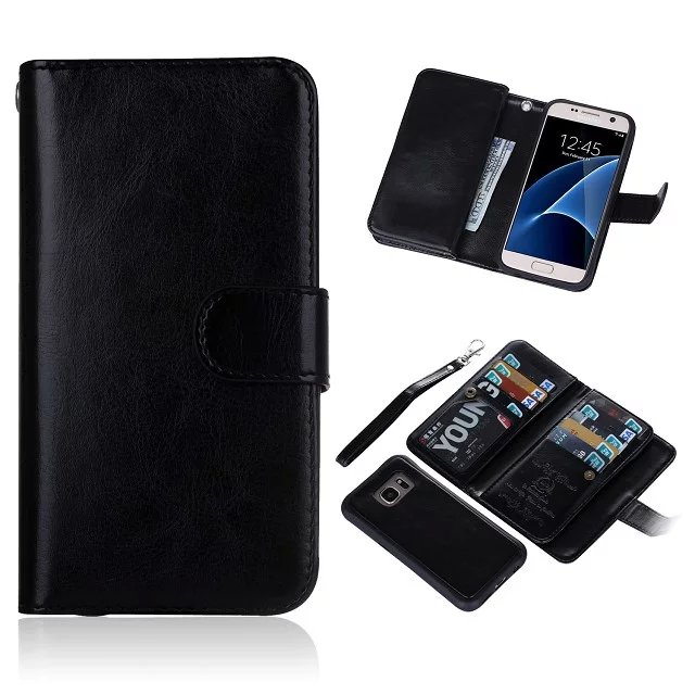 buy online a93ec 713ab BRG Samsung Galaxy S7 Case 9 Card Slot 2 in 1 Detachable Magnetic Wallet  Case Cover