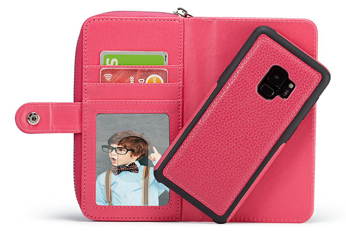 BRG Samsung Galaxy S9 Litchi Pattern Zipper Wallet Detachable Magnetic Case