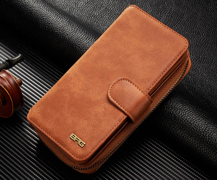 BRG Samsung Galaxy S9 Plus Zipper Wallet Detachable Magnetic Case