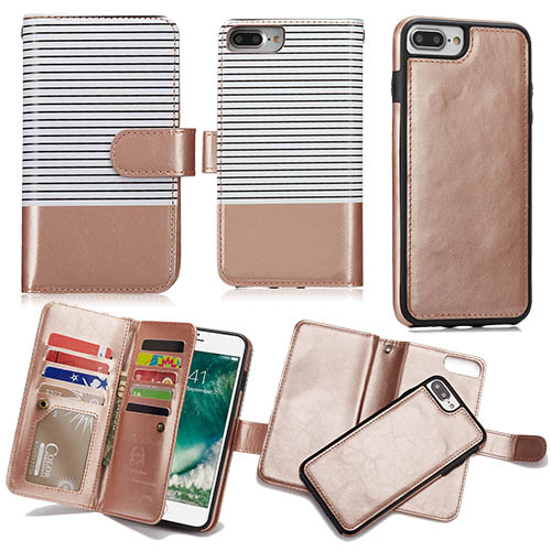b5b60921395a BRG iPhone 8 Plus Wallet 2 in 1 Stripe Leather Case White + Gold