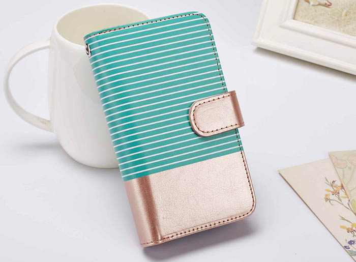 BRG iPhone 7 Detachable Wallet Stripe Leather Case Green + Gold