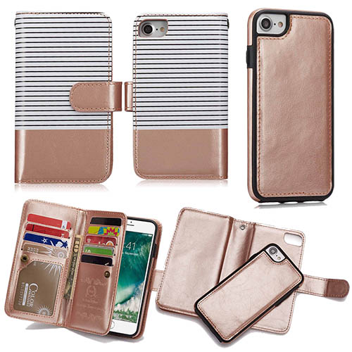 online store e7720 253f7 BRG iPhone 6S Plus/6 Plus Wallet 2 in 1 Stripe Leather Case White + Gold