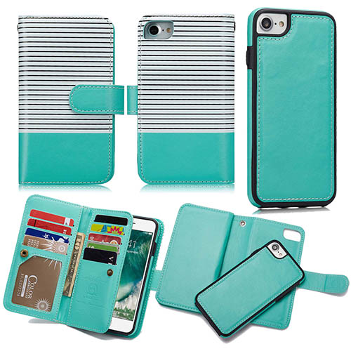 new arrivals 3904c 07612 BRG iPhone 6S/6 Wallet 2 in 1 Stripe Leather Case White + Green