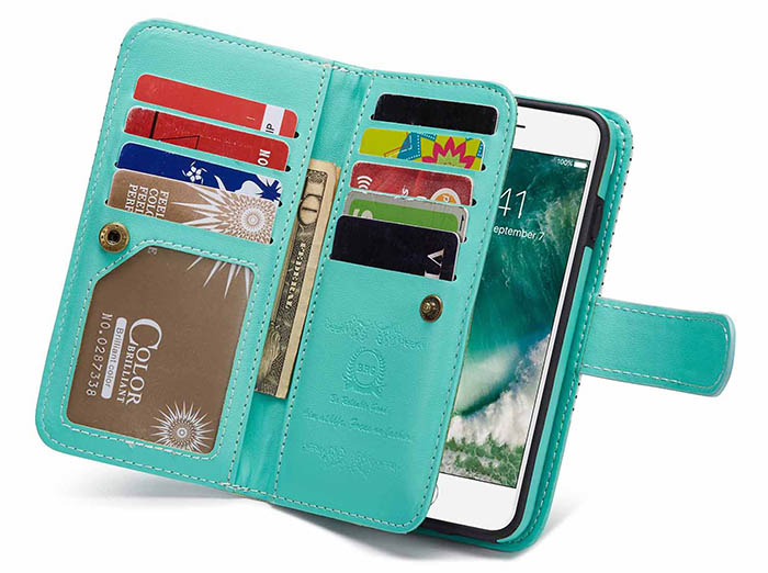 BRG iPhone 6S/6 Wallet 2 in 1 Stripe Leather Case White + Green