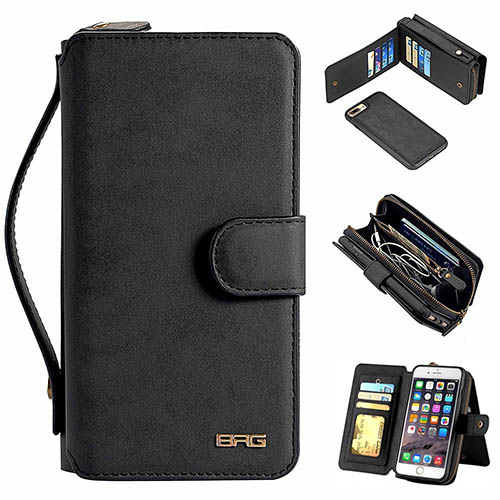 reputable site 8e7d0 708f8 BRG iPhone 7 Plus Zipper Wallet Magnetic Detachable Flip Case