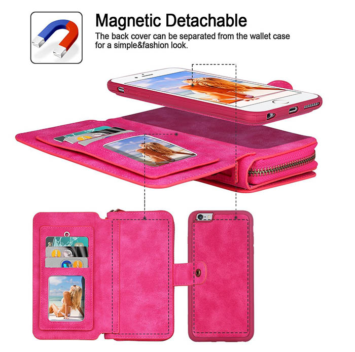 BRG iPhone 7 Zipper Wallet Magnetic Detachable Flip Case