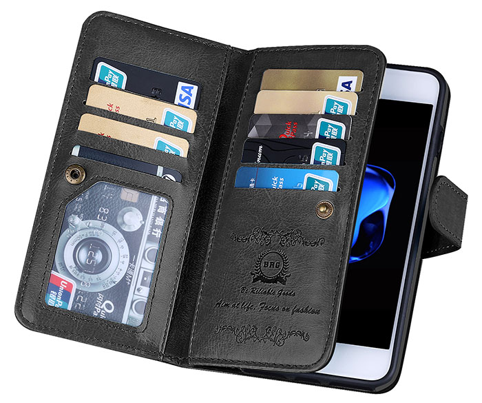 BRG iPhone 8 Wallet 9 Card Slots Detachable Magnetic Case