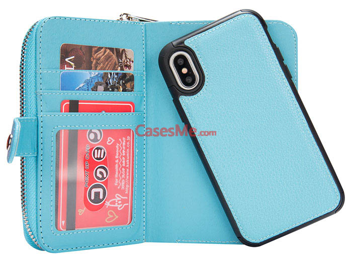 BRG iPhone X Litchi Pattern Zipper Wallet Detachable Case