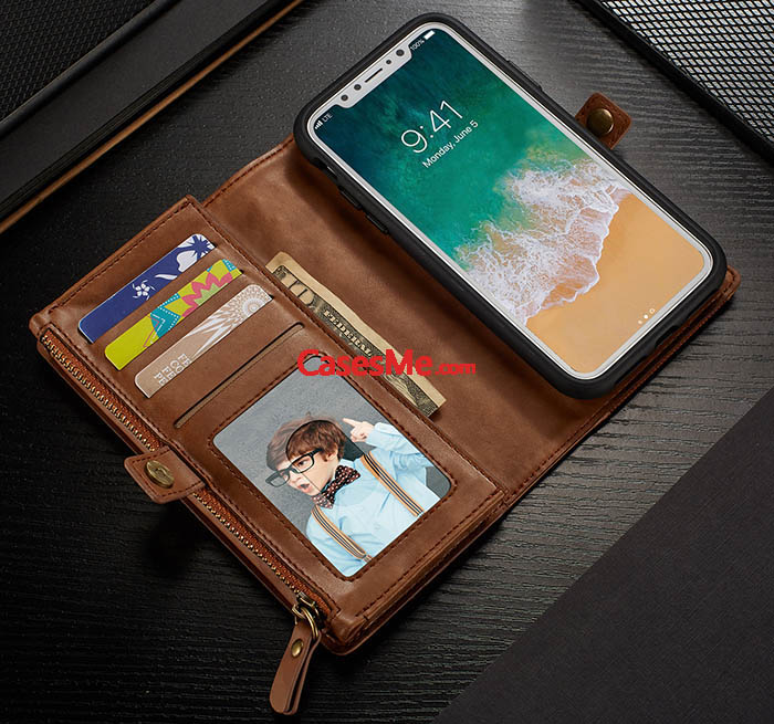 BRG iPhone X Wallet Detachable Magnetic Case with Wrist Strap