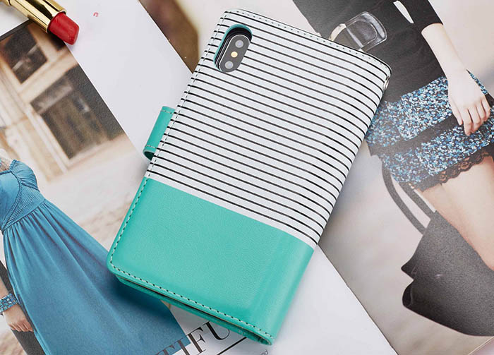 BRG iPhone Xs Max Wallet Stripes 9 Card Slots Magnetic Detachable 2 in 1 Case White + Green