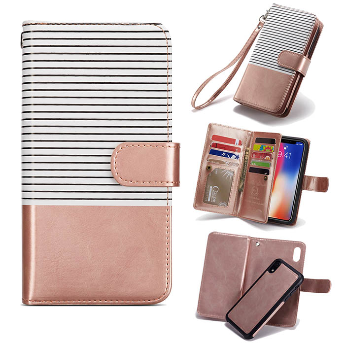 timeless design f490a 11fba BRG iPhone XR Wallet Stripes 9 Card Slots Magnetic Detachable 2 in 1 Case  White + Gold