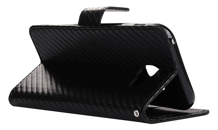 Carbon Fiber Samsung Galaxy A3 2017 Wallet Stand Leather Case