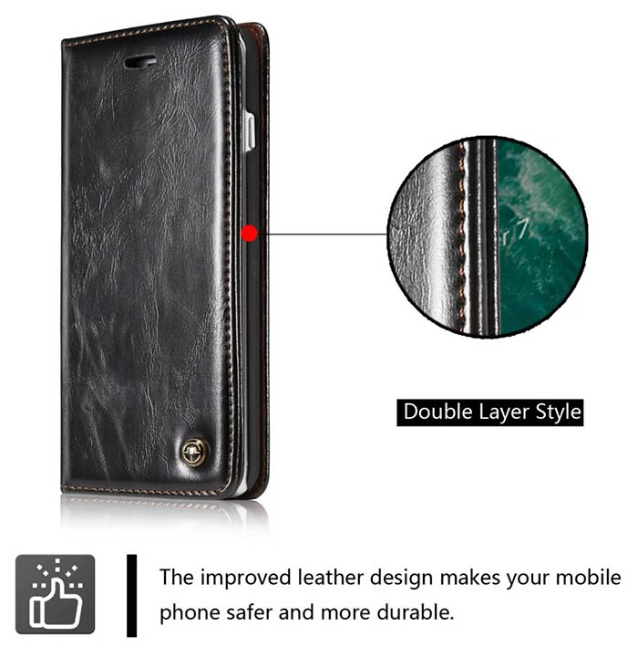 CaseMe iPhone 7 Plus Business Style Magnetic Flip Wallet Case Black