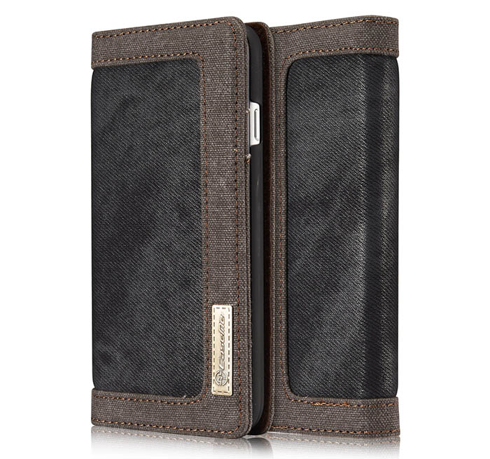 CaseMe 006 iPhone 7 Canvas Wallet PU Leather Stand Case Black