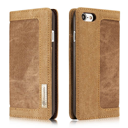 CaseMe 006 iPhone 7 Canvas Wallet PU Leather Stand Case Brown