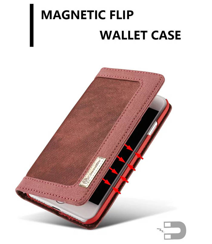 CaseMe iPhone 7 Canvas Wallet PU Leather Stand Case Red