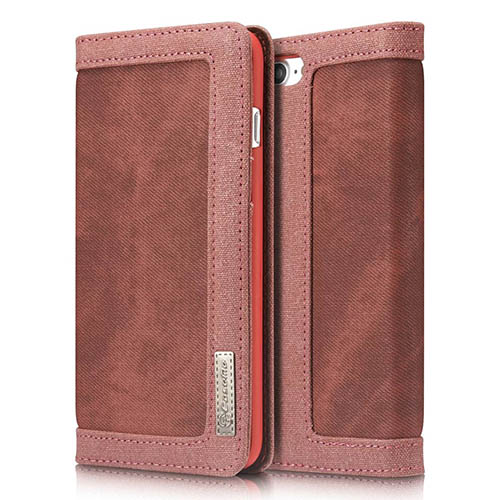 CaseMe 006 iPhone 7 Plus Canvas Wallet PU Leather Stand Case Red