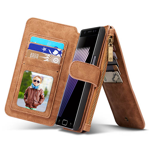 CaseMe 007 Samsung Galaxy Note 7 Retro Flannelette Leather Detachable 2 in 1 Wallet Case Brown