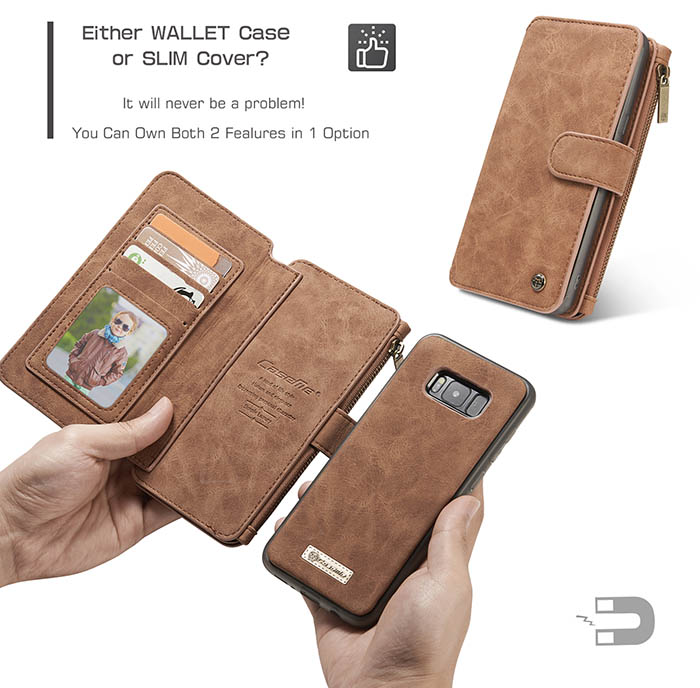 CaseMe Samsung Galaxy S8 Detachable 2 in 1 Zipper Wallet Case Brown