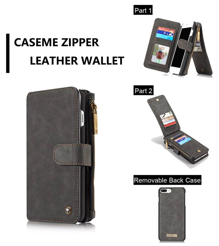 CaseMe iPhone 7 Plus Detachable 2 in 1 Multifunctional Wallet Case Black