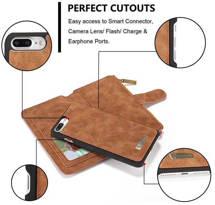 CaseMe iPhone 7 Plus Detachable 2 in 1 Multifunctional Wallet Case Brown