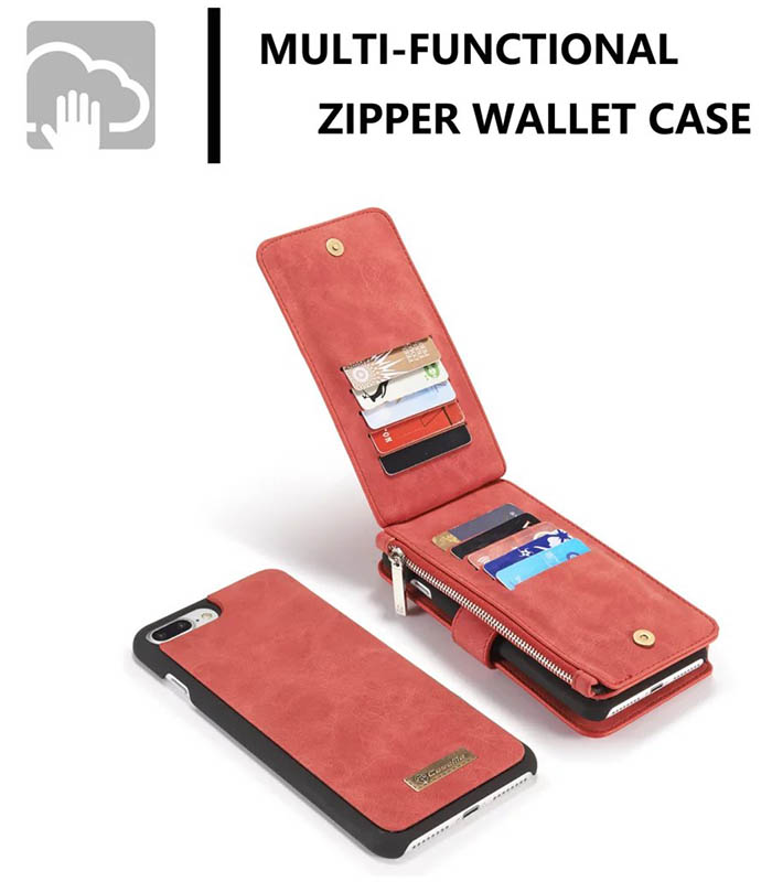 CaseMe iPhone 7 Plus Detachable 2 in 1 Multifunctional Wallet Case Red