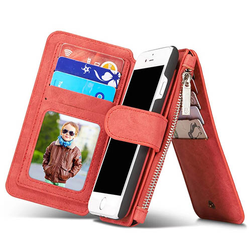 CaseMe 007 iPhone 7 Retro Flannelette Leather Detachable 2 in 1 Wallet Case Red