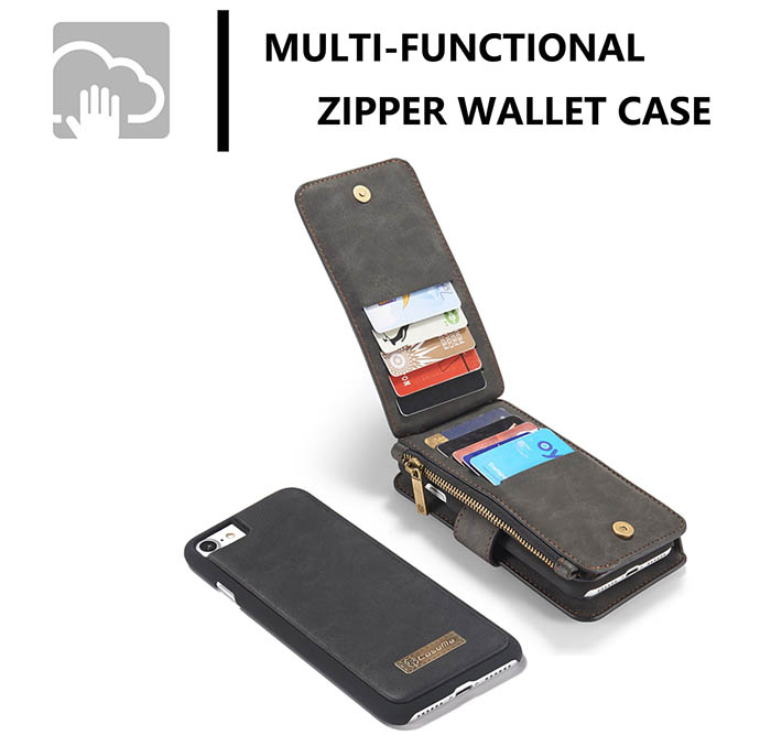 CaseMe iPhone 8 Plus Zipper Wallet Detachable Flip Case