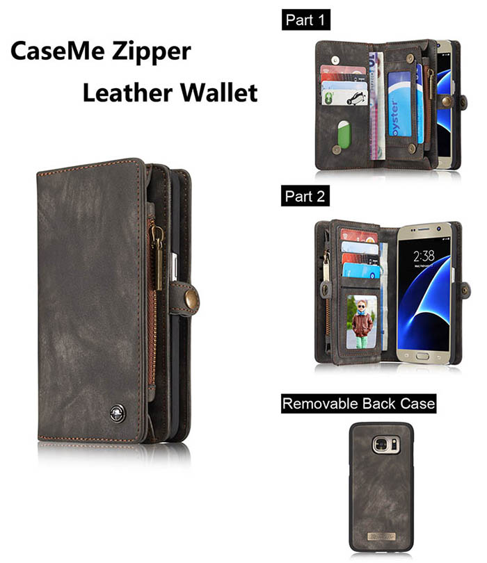 CaseMe Samsung Galaxy S7 Zipper Wallet Detachable 2 in 1 Folio Case Black