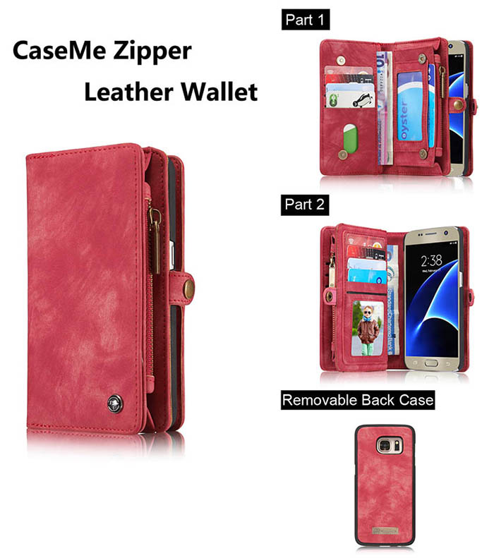 CaseMe Samsung Galaxy S7 Zipper Wallet Detachable 2 in 1 Folio Case Red