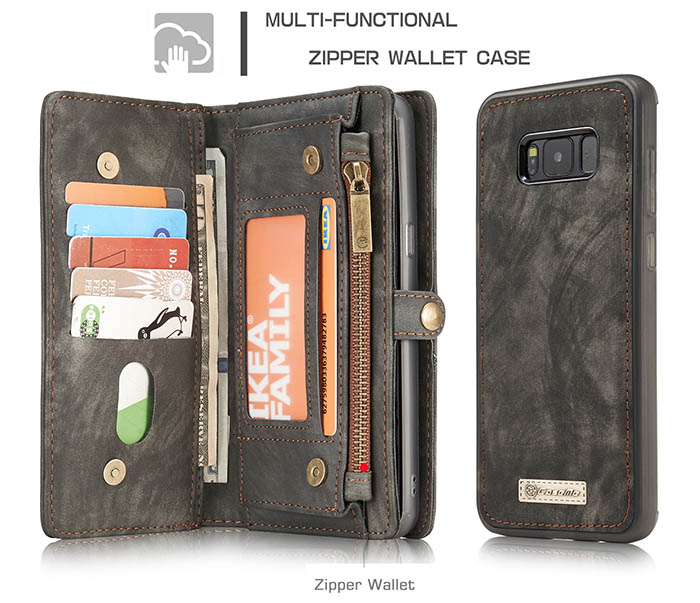 CaseMe Samsung Galaxy S8 Zipper Wallet Detachable 2 in 1 Folio Case Black