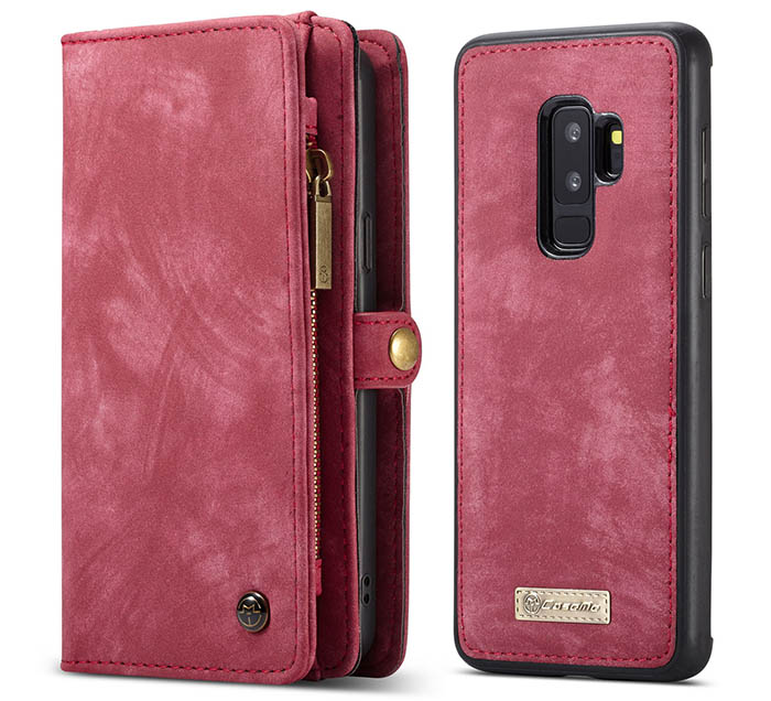 save off feb4f 6497c CaseMe Samsung Galaxy S9 Plus Zipper Wallet 2 in 1 Folio Case Red