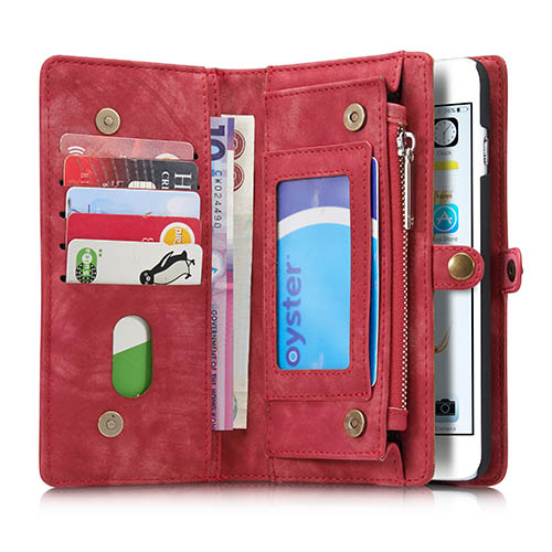 f47576754a6 CaseMe iPhone 6S Plus 6 Plus Zipper Wallet Detachable 2 in 1 Folio Case Red