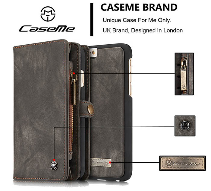 CaseMe iPhone 6S/6 Zipper Wallet Detachable 2 in 1 Folio Case Black