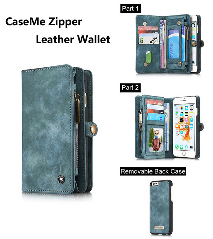 CaseMe iPhone 6S/6 Zipper Wallet Detachable 2 in 1 Folio Case Green