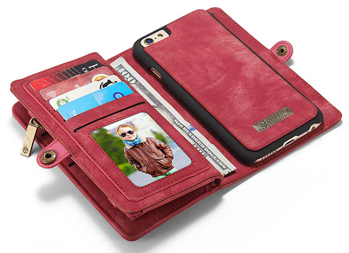 CaseMe 008 iPhone 6S/6 Zipper Wallet Detachable 2 in 1 Retro Flannelette Leather Folio Case Red