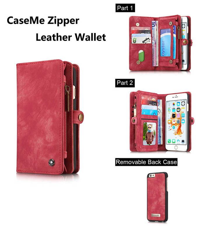 CaseMe iPhone 6S/6 Zipper Wallet Detachable 2 in 1 Folio Case Red