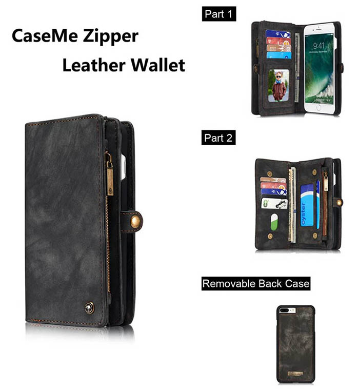 CaseMe iPhone 7 Plus Zipper Wallet Detachable 2 in 1 Folio Case Black