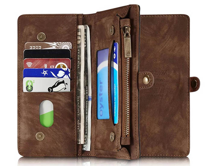 CaseMe 008 iPhone 7 Plus Zipper Wallet Detachable 2 in 1 Retro Flannelette Leather Folio Case Brown