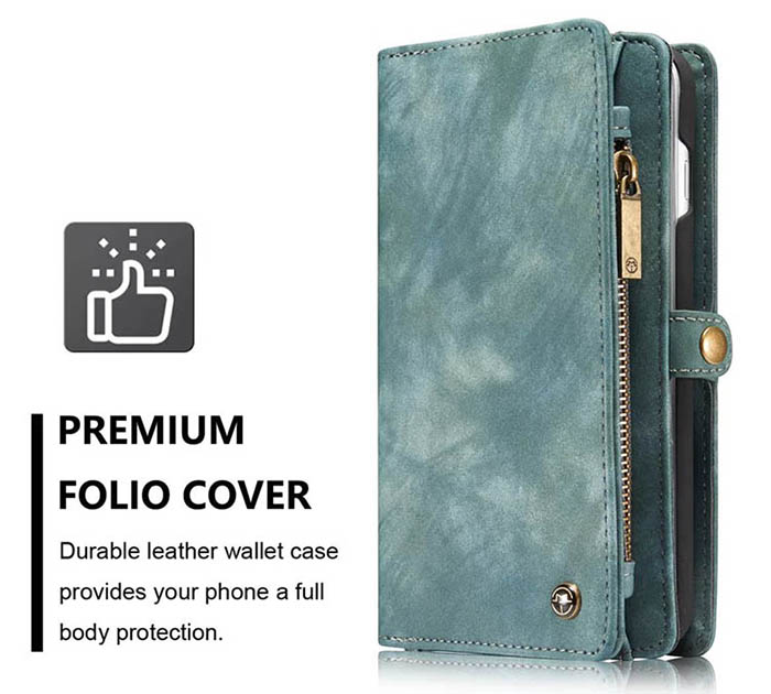 CaseMe iPhone 7 Plus Zipper Wallet Detachable 2 in 1 Folio Case Green