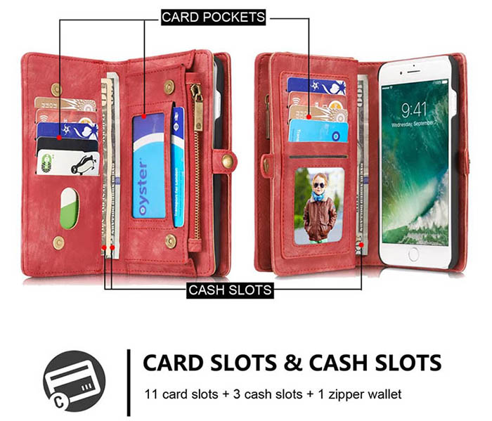 CaseMe iPhone 7 Plus Zipper Wallet Detachable 2 in 1 Folio Case Red