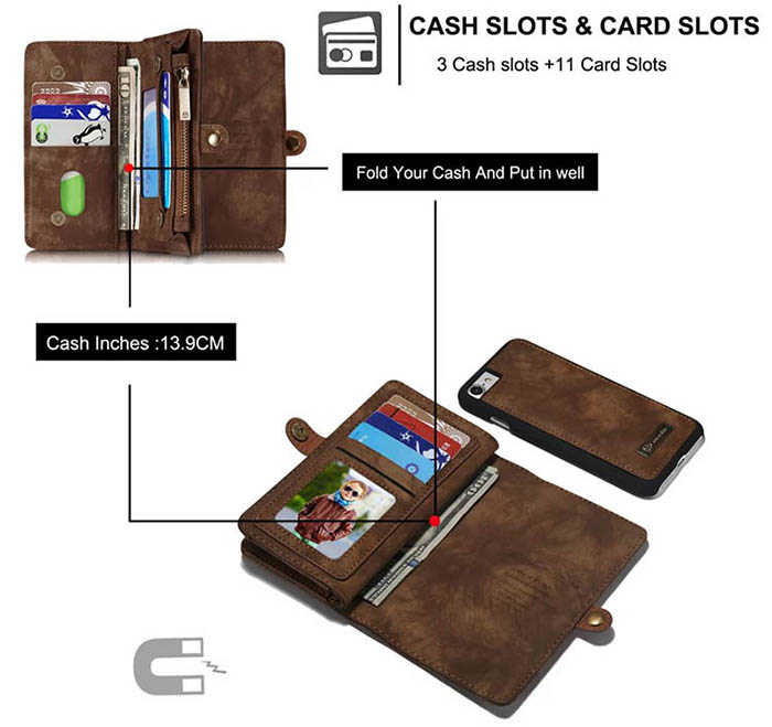 CaseMe iPhone 8 Detachable Multi-slot Zipper Wallet Case