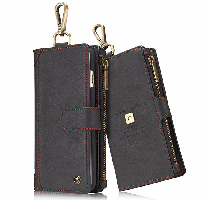 CaseMe iPhone 6S/6 Zipper Wallet Metal Buckle Detachable Folio Case Black
