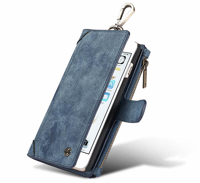 CaseMe iPhone 6S/6 Zipper Wallet Metal Buckle Detachable Folio Case Blue