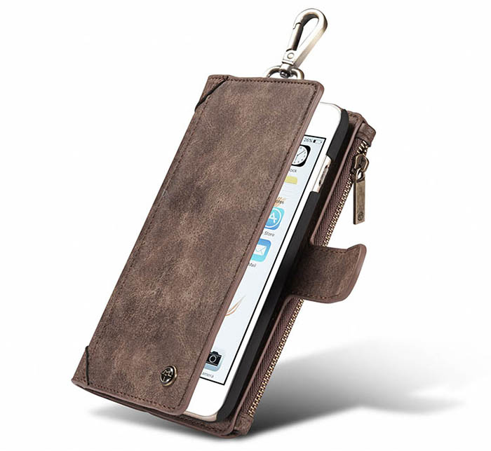 CaseMe iPhone 6S/6 Zipper Wallet Metal Buckle Detachable Folio Case Coffee