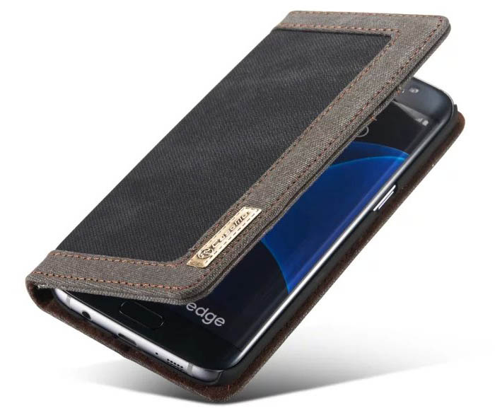 CaseMe Samsung Galaxy S7 Edge Canvas Jeans PU Leather Wallet Stand Case