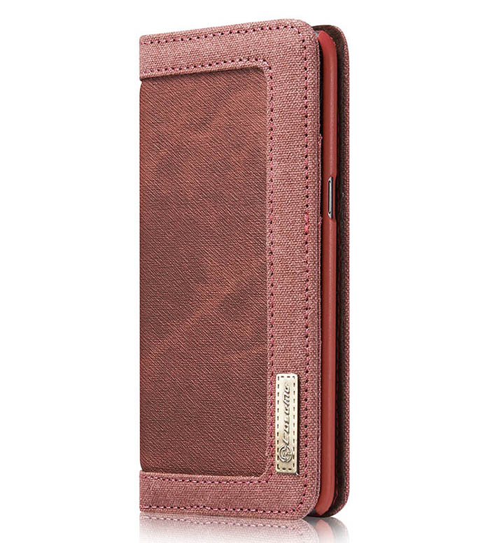 CaseMe Samsung Galaxy S8 Canvas Wallet PU Leather Stand Case Red